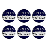 Terrance Hello My Name Is Plastic Resin Button Set of 6