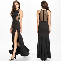 New Women's Fashion Sleeveless Sexy Mesh Slim Fitting Cocktail Party Evening Black Long Dress Gown F_F = 1902736196