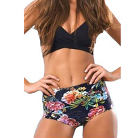 Black Floral Printed Vintage Retro Women High Waist Bikini Biquini Swimsuit  Sexy Swim Wear Beachwear Bathing Suit