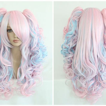 Gorgeous Girls Synthetic Anime Cosplay Rainbow Mixed Color Zipper Lolita Wig Ponytails,Colorful Candy Colored synthetic Hair Extension Hair piece 1pcs WIG-053A