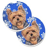Yorkie Winter Snowflakes Holiday Set of 2 Cup Holder Car Coasters SC9388CARC