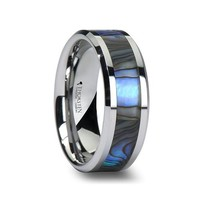 MAUI Tungsten Wedding Band with Mother of Pearl Inlay - 6 mm - 10 mm
