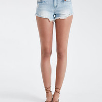 Blue Asphalt Frayed Turn-Cuff Denim Shorts | Wet Seal