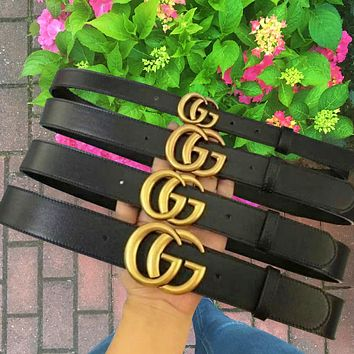 LV Louis vuitton G Belt fashion hot style classic gold buckle hermes lovers style belt Bronze Buckle