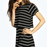 Christa Striped Tshirt Style Casual Playsuit