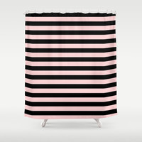 Shower Curtain - Black and Pink Striped Shower Curtain - Black and Pink Stripes - Teen Shower Curtain - Girls Shower Curtain - Dorm Decor