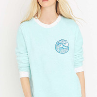 Calle Del Mar Blue Towel Crew Neck Sweatshirt - Urban Outfitters