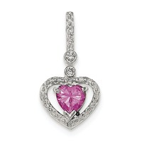 Sterling Silver Polished Pink and White CZ Heart Slide Pendant