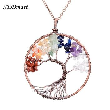 SEDmart 7 Chakra Tree Of Life Pendant Necklace Copper Crystal Natural Stone Necklace Women
