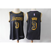 2019-2020 L.A. Lakers 3 Anthony Davis Black City Edition Basketball Jersey