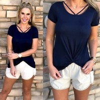 Say it Simply Blouse Navy