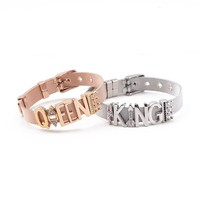 SANSHOOR Soulmate Couple Silver Rose Gold Stainless Steel Bracelet for King and Queen make your Partner Happy Crown Charms
