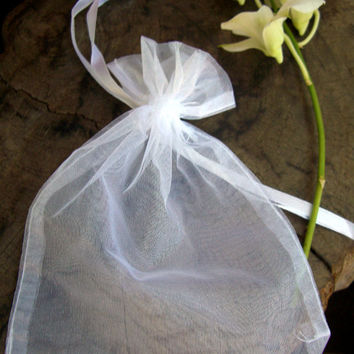 """100pc White Sheer Organza Favor Gift Bags 4"""" x 5"""" For party / wedding / gifts / jewelry"""