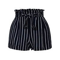 Stretchy Striped High Waisted Paperbag Short Pants (CLEARANCE)