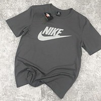 NIKE New Fashion Letter Hook Print Women Men Top T-Shirt Gray