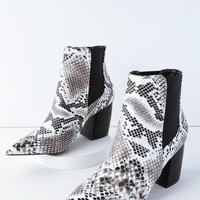 Cecy Black and White Snake Pointed Toe Ankle Booties
