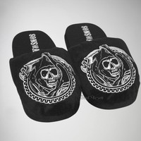 Licensed cool NEW SONS OF ANARCHY MOTORCYCLE GRIM REAPER ADULT Slippers PLUSH HOUSE SHOES S-M