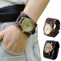 Essential New Style Retro Punk Rock Brown Big Wide Leather Cuff Men Cool Wrist Watches Bangle Relogio Bracelet Women Men Relojes [8833447884]