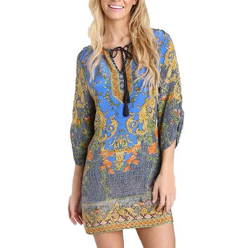 Singwing Print Totem  Women Dresses O-neck Long Sleeve Chiffon Dress Casual Lady's summer Dresses