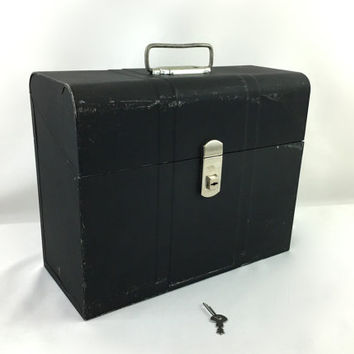 Industrial Art Deco Black Metal File Box with Handle Portable Locking Storage Box with Key Mid Century Metal Storage Box Made In USA