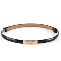 2015 Fashion brand 100% genuine leather women belt metal Pin buckle Vintage belts for women Color Black White red sapphire
