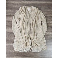 Women's Open Front Lightweight Knit Cardigan with Lace Hem in Beige