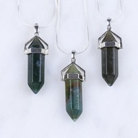 Moss Agate Crystal Point Pendant Moss Agate Necklace