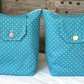 Polka Dot Gift Bags Reusable Turquoise & White Vintage 1980s Fabric Wrapping Cottage Chic Modern (Set of 2) --US Shipping Included
