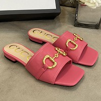 GG G Women's Square Toe Slippers Shoes