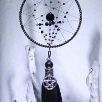 Goth Wicca Dreamcatcher Celtic Dragon Pentagram Black Onyx Snowflake Obsidian Hematite Crow Feathers Goth Bedroom Magic Ornament Witchcraft
