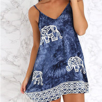 Tie Dye Elephant Printed Dress