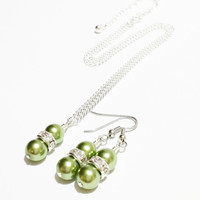 Bridal Party Gift / Bridesmaid Jewelry Set / Olive Green Necklace Set / Bridal Necklace and Earrings / Bridesmaids Gift / Bijoux de Mariage