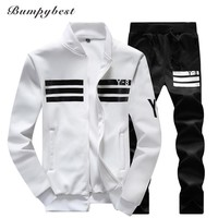 New men Winter Autumn Spring Men Sportswear Jackets pants Men's Clothing Sets complete