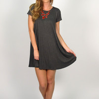 Tess T-Shirt Dress: Charocal