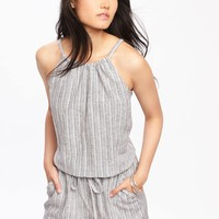 High-Neck Linen-Blend Romper for Women | Old Navy