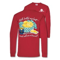 Southern Couture Preppy Call Me A Biscuit Long Sleeves Comfort Colors T-Shirt