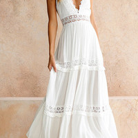 White Deep V-Neck Lace Maxi Dress