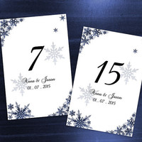 DIY Printable Wedding Table Number Template | Editable MS Word file | 4 x 6 | Instant Download | Winter Royal Navy Blue Snowflakes