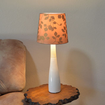 White & Light Yellow Ceramic Table Lamp w/Floral Fabric Shade