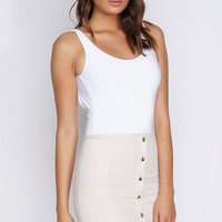 Vera Suede Button Mini Skirt - Cream