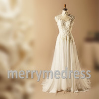 Lace Applique Sheer Straps Backless Long Wedding Dress, Floor length Tulle Formal Evening Party Prom Dress New Homecoming Dress