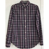 Merona Plaid Casual Shirt Classic Fit Gray Purple White Pink Button Down S 30.5