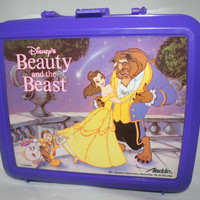 Beauty and the Beast Lunchbox with Thermos Never Used Vintage Disney Lunch Box Disney Princess Collectible  Storage Box Drink Container