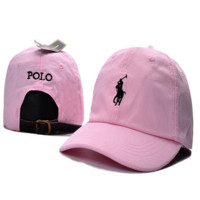 Trendy Pink Polo Embroidered Unisex Adjustable Cotton Sports Cap Hat