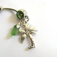 Beach Glass Belly Button Jewelry, Palm Tree Bellybutton Ring Tropical Belly Button Ring Sea Glass Belly Rings