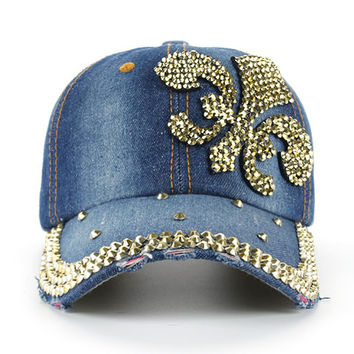 Fashion Leisure Cross Rhinestones Jean Cotton CAP