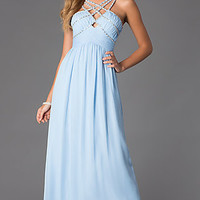Floor Length Criss Cross Prom Dress