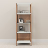 Wood Brown/White Home Office Bookcase