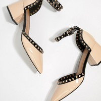 ASOS DESIGN Stealth Studded Mid Heels at asos.com