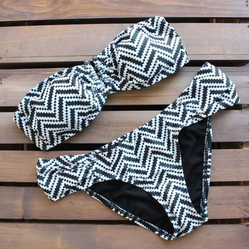 Tribal Chevron Bikini in Black and White